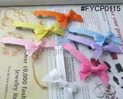 FYCP0115 grosgrain ribbon bow hairclips