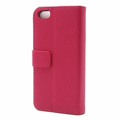 Magnetic Wallet Shaped Litchi Grain PU Leather Stand Case for iPhone 5