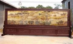 紅木彩雕大型屏風