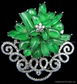 18K White Gold Green Jade Brooch