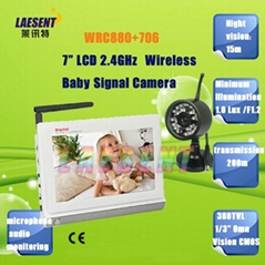 """HD 7"""" TFT Color LCD 2.4GHz Wireless Singal Baby Monitor Support 4 Channels"""