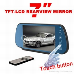 7'' Car rearview mirror with touch button/TFT LCD monitor