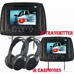 "7"" Car Headrest DVD Player/Game/USB/SD/MP4 Player/IR/FM transmitter"