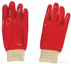 Red PVC fully coated glove knit wrist smooth finish