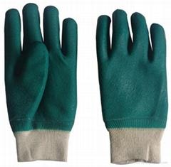 Green PVC fully coated glove knit wrist sandy finish