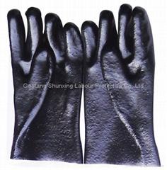 Black PVC fully coated glove rough finish