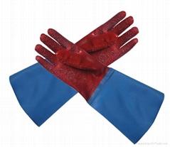 红色PVC浸胶手套,防滑颗粒,渔业用工作手套