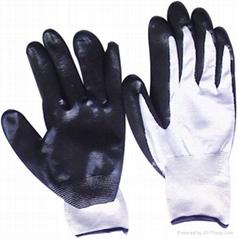 Black nitrile palm coated glove
