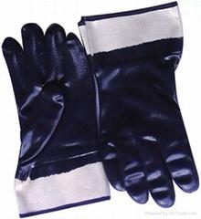 Dark blue nitrile fully coated glove safety cuff
