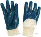Dark blue nitrile coated glove open back