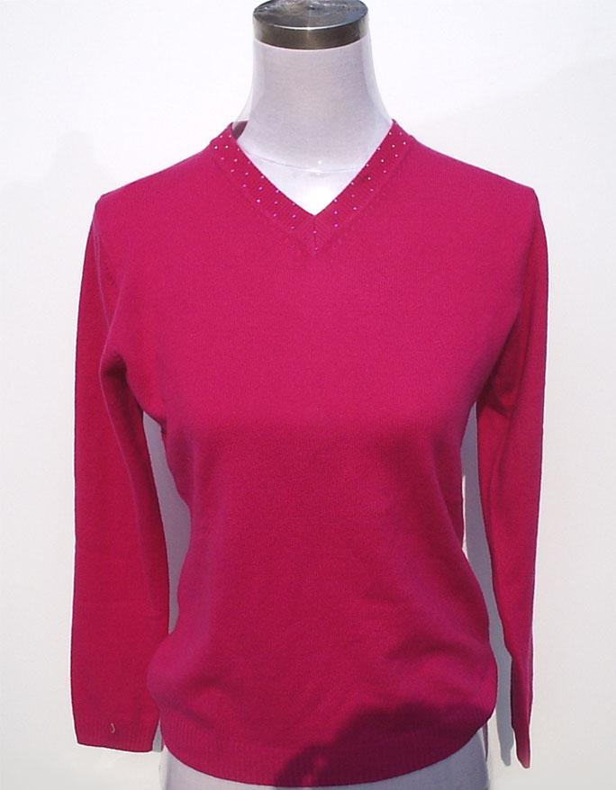 Women's V-neck sweater with rhinestones hotfixed 1