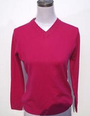 Women's V-neck sweater with rhinestones hotfixed