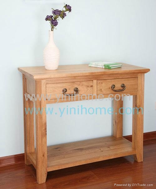Oak Two Drawer Console Table 1