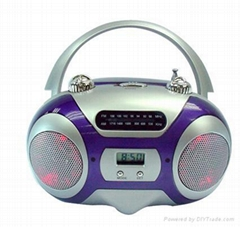 AM/FM portable radio with LCD clock and disco lights
