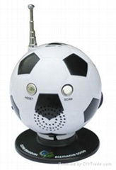AM tuning and FM auto scan football shape radio