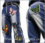 玻璃珠牛仔褲燙畫印花