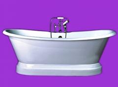 Plinth base cast iron bathtub