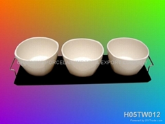 PORCELAIN BOWL SHAPE TABLEWARE WITH WOOD TRAY