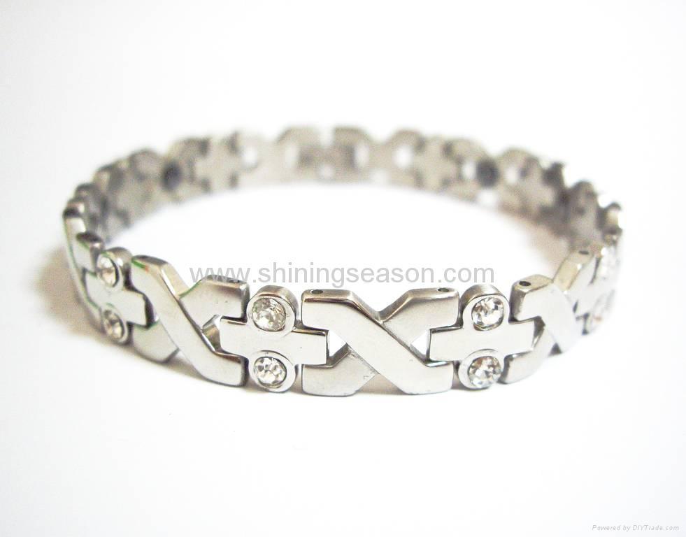 Magnetic S.steel bracelets with Zirconia 1