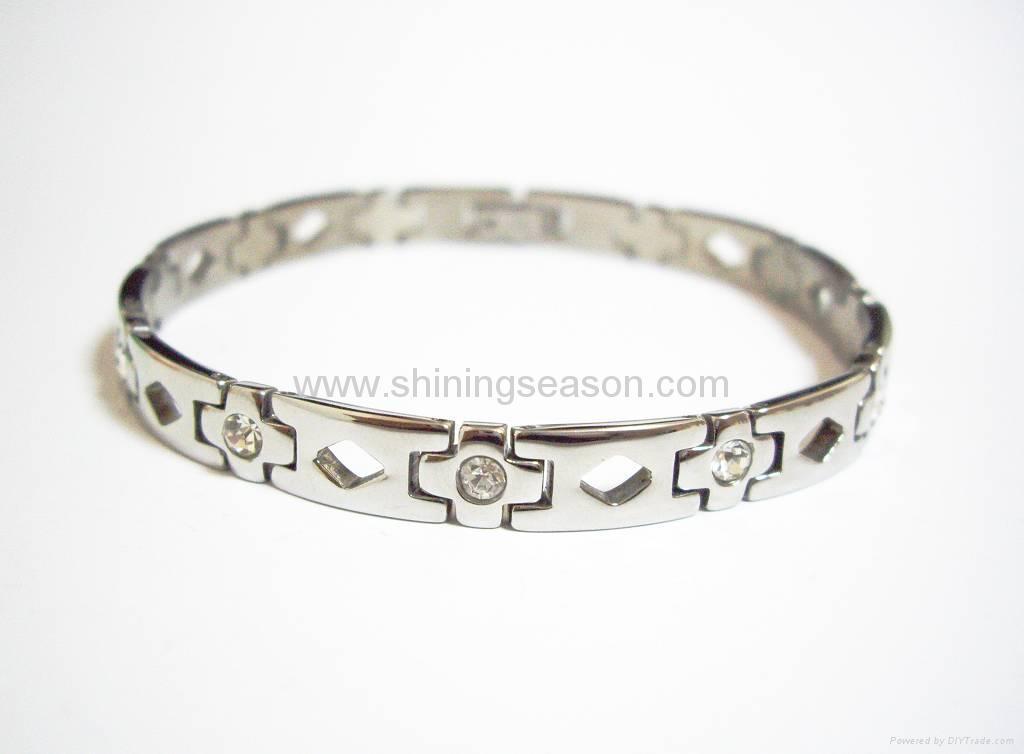 Magnetic S.steel bracelets with Zirconia 2