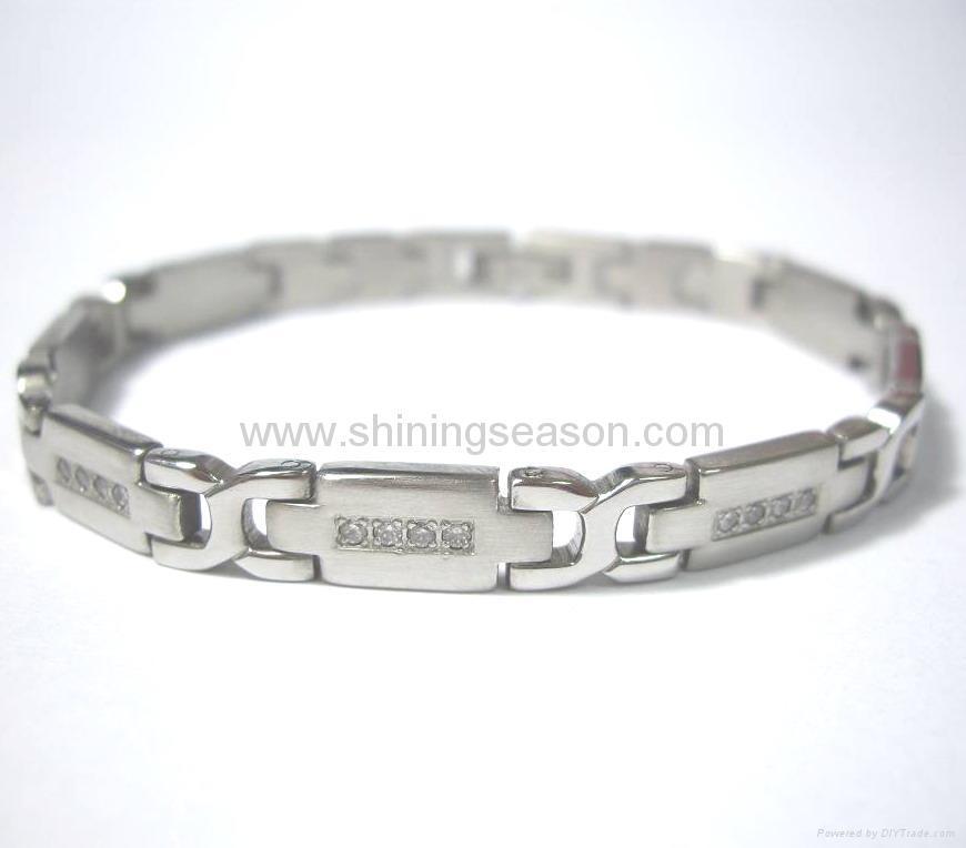 不锈钢镶石磁手链