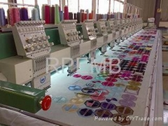 Multi head flat embroidery machine