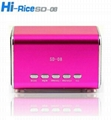 Original HI-RICE SD-8 portable Mini Speakers/mp3 player TF/USB Slot