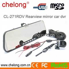 2.7inch dual camera 1080p car dvr rearview mirror car cam