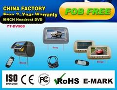 "Beige 9"" Car Headrest DVD Player USB FM radio with headphones"