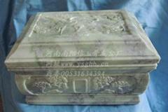 藍田玉加大西式精雕刻玉石骨灰盒