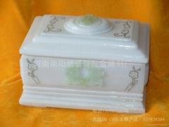 骨灰盒玉石骨灰盒殯葬用品批發生產白玉奠字骨灰盒