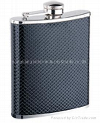Covering Bonoded Leather S/S Hip Flask