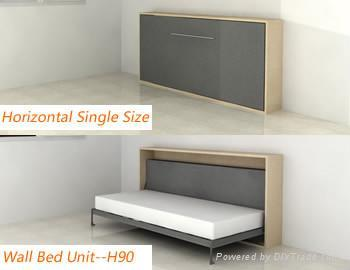 horizontal wall bed diy