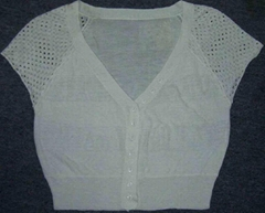 3/4 Short Sleeve V-neck Cardigan