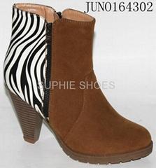 Zebra print high heels ladies dress shoes Ankle Boots