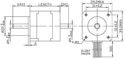 Hybrid stepper motor nema 16 frame size 39mm sh39ht for Nema stepper motor frame sizes