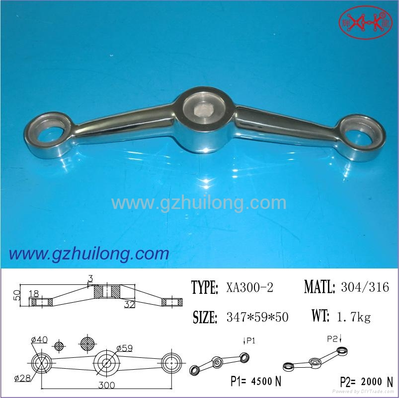 XA300 2-way spider for glass curtain wall fittings