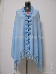 Fur Ball Knitting Shawl