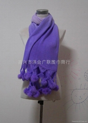 Fur Ball Knitting Scarf Shawl