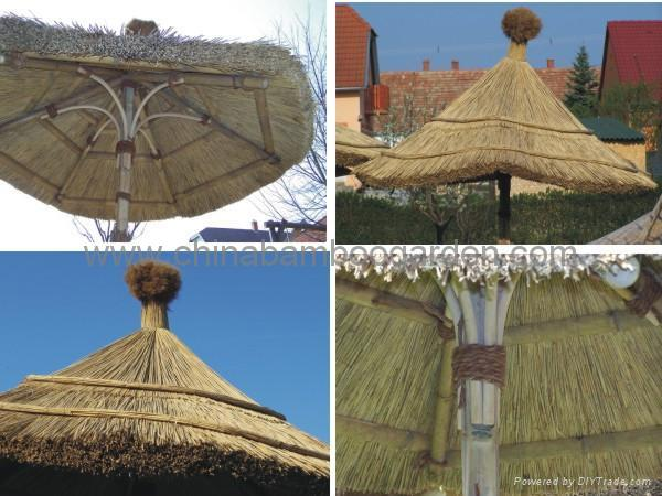 Bamboo umbrella with thatch straw palm leaf roof cbg for Bamboo roofing materials