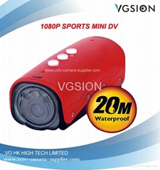 Newest 1080P Sports Camera (20M Waterproof) HD Mini DV Camcorder with Lase Light