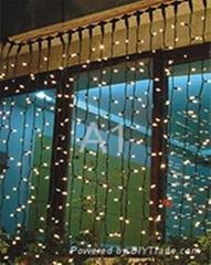 橡胶线LED窗帘灯,红色,25串,每串1.5米,220V