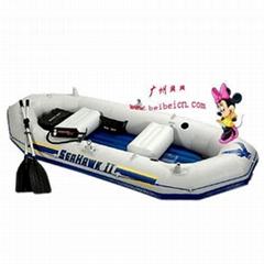 灰色四人釣魚船/充氣船