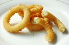 Frozen mix vegetables formed onion rings