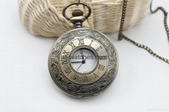 Archaize Pocket Quartz Watch Antique BLACK Necklace Xmas gift