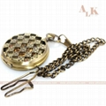 Vintage Style Bronze Antique Mechanical Pocket Watch Pendant Chain Necklace Gift