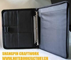 Leather briefcase portfolio file folder document holder writing paper keeper