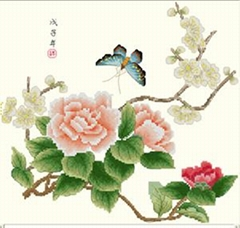 Cross-stitch finished products for Wall Hanging (Peony and Pear blossom )