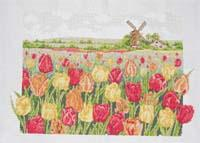Cross-stitch finished products for Wall Hanging(Countryside plated tulip)
