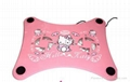 Newest hello kitty USB 2 fan Notebook laptop Cooling Pad with blue light